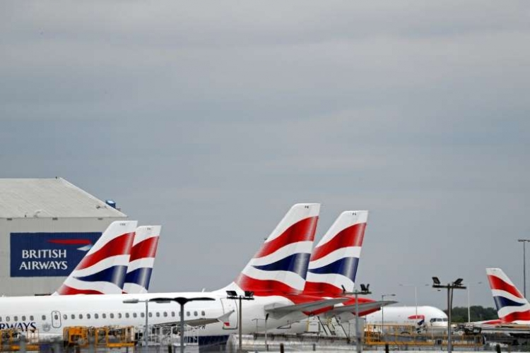 Aviões da British Airways no aeroporto de Londres